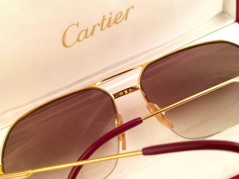 New Cartier Tank Orsay Half Frame 58mm 18K Gold Plated Sunglasses France  For Sale 3