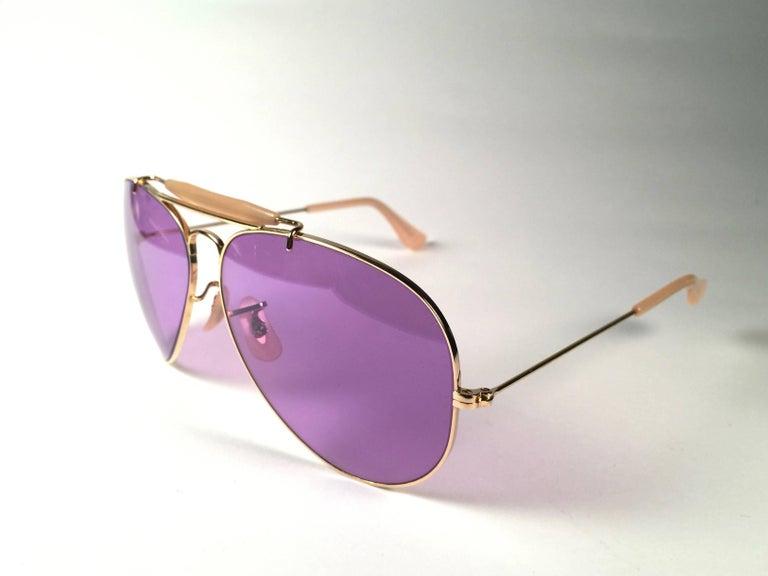 Black Ray Ban Purple Chromax 58MM Outdoorsman USA Sunglasses For Sale