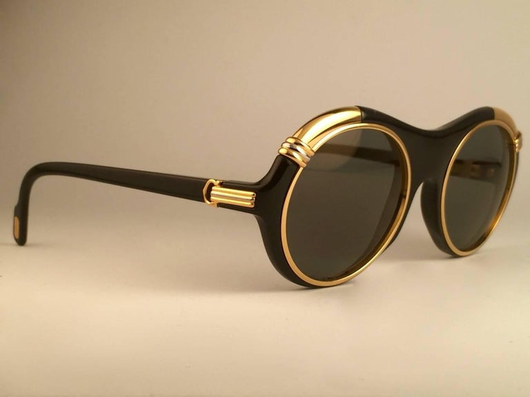 Women's or Men's Cartier Diabolo Gold and Black 53MM Sunglasses France, 1991 For Sale