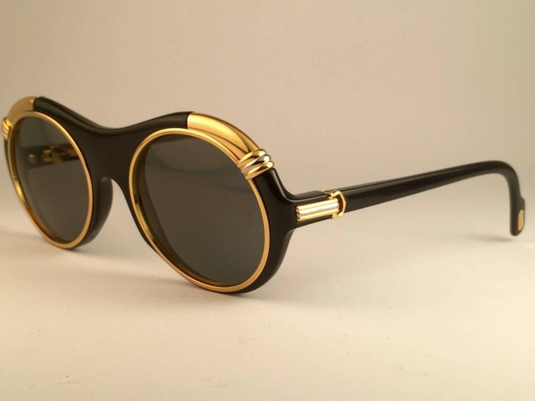Cartier Diabolo Gold and Black 53MM Sunglasses France, 1991 For Sale 1