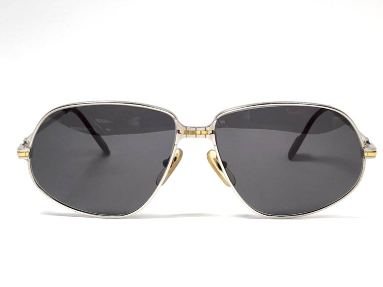 345396dd1bc Women s or Men s New Vintage Cartier Panthere 59MM Platine Heavy Plated  Sunglasses France 18k For Sale