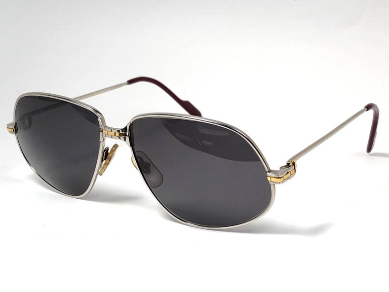 034efb3458e New Vintage Cartier Panthere 59MM Platine Heavy Plated Sunglasses France 18k  For Sale 1