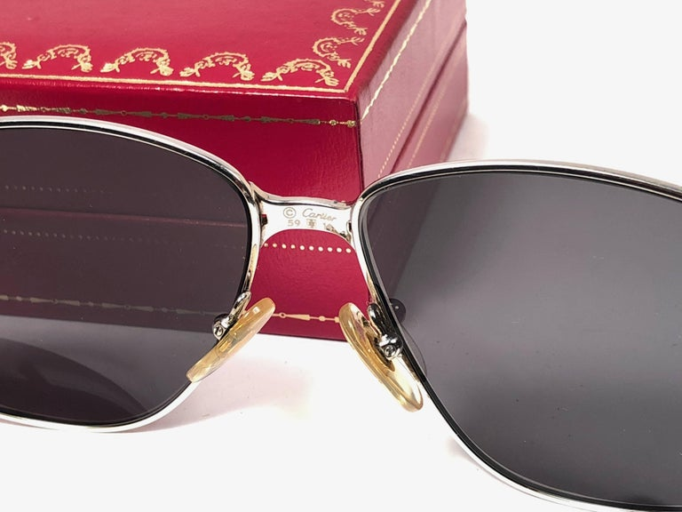fd905e2ded5 New Vintage Cartier Panthere 59MM Platine Heavy Plated Sunglasses France 18k  For Sale 2