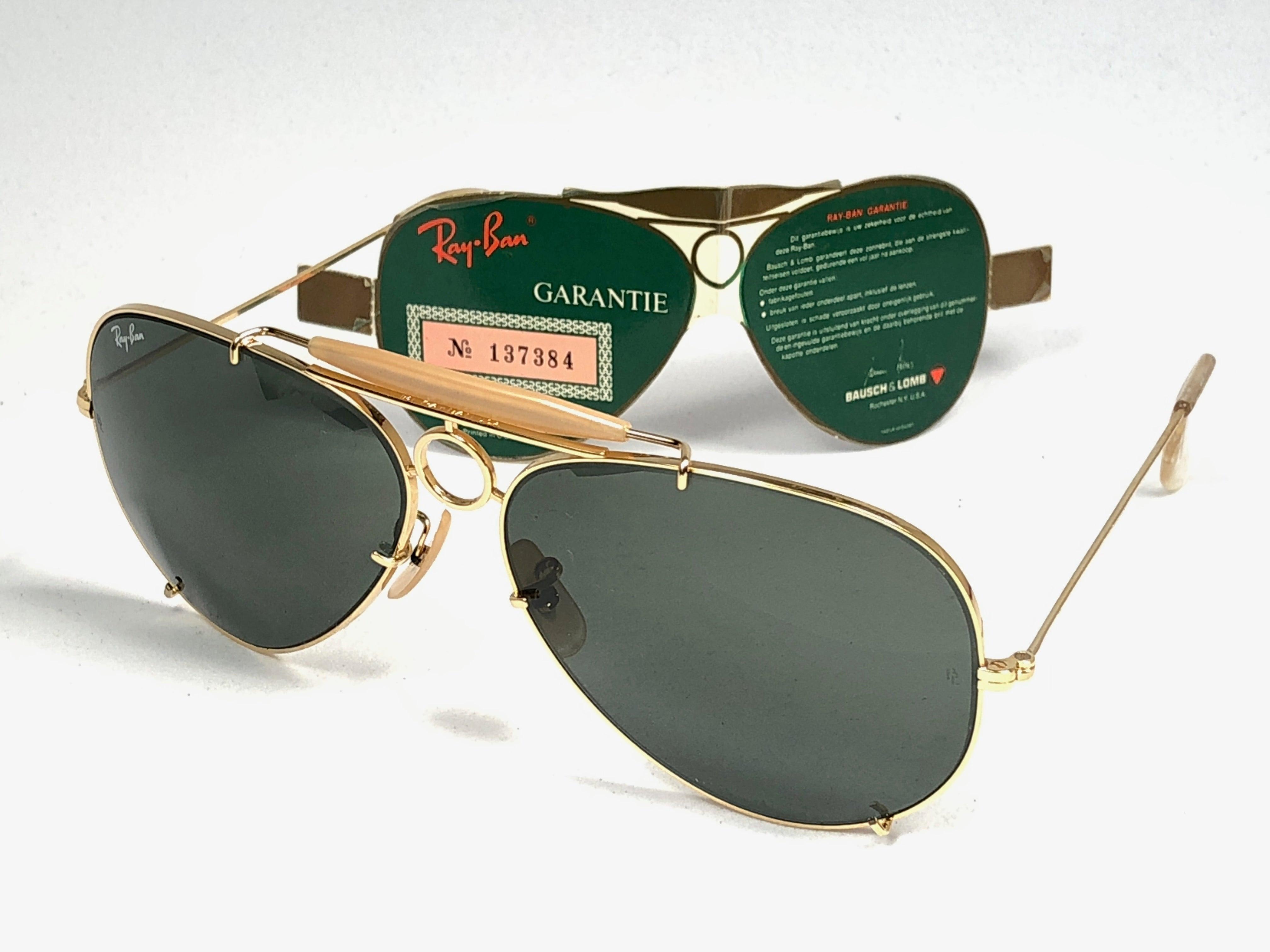 f341950cb16524 Ray Ban Vintage SharpShooter Gold 62Mm B L Sunglasses