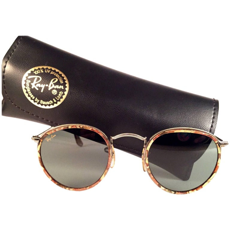 352b4c73f2 Mint Vintage Ray Ban Round Mosaic Classic G15 Lenses 1990 s B L Sunglasses  at 1stdibs