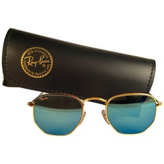 New Vintage Ray Ban Style 3 Blue Mirror Lenses 1990's B&L Sunglasses