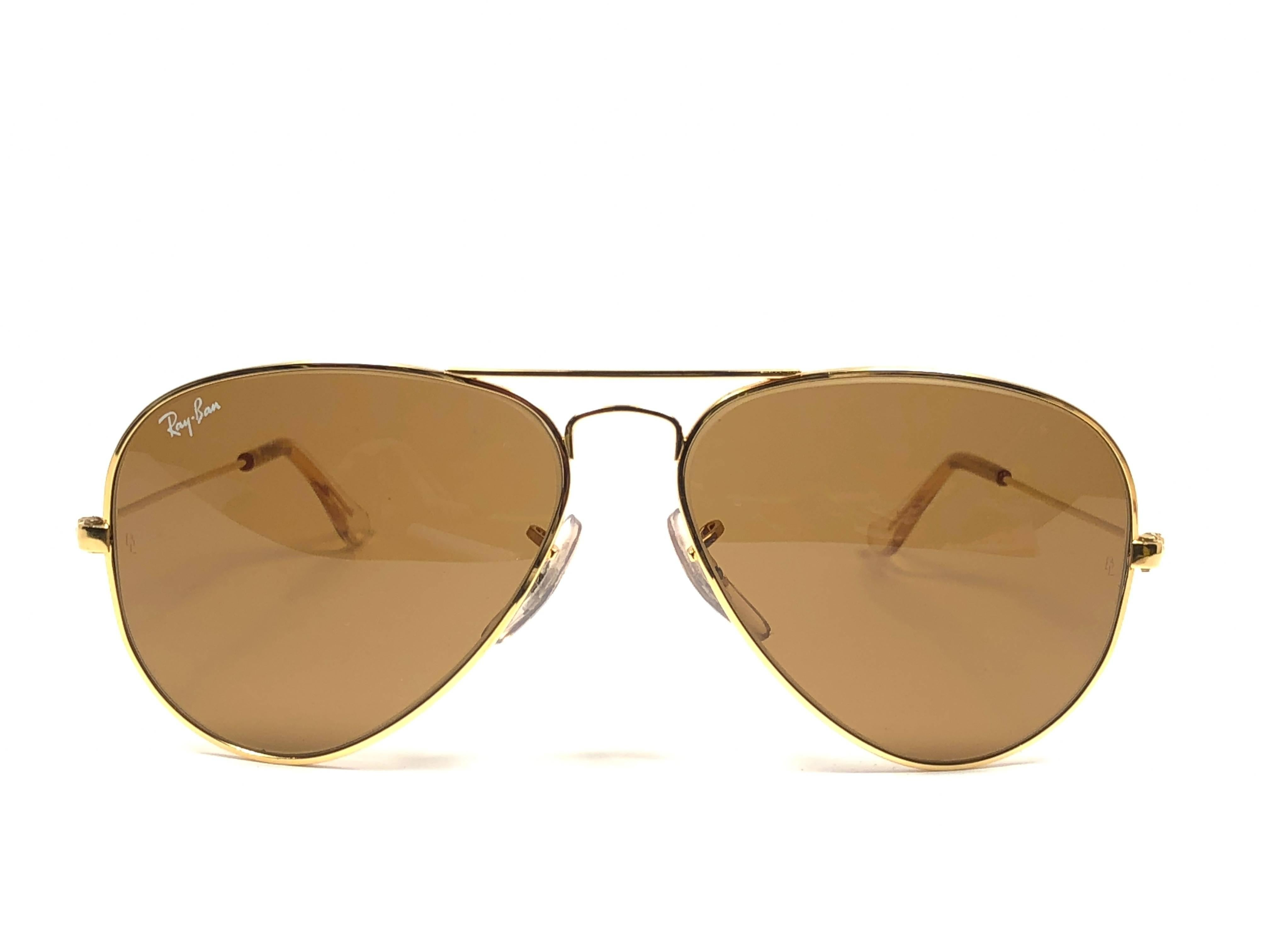 4199c1ba9c coupon code for new super special vintage ray ban aviator gold frame with  bl b15 brown