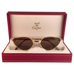 Cartier Rivoli Vendome 56mm Cat Eye Heavy Gold Plated Sunglasses France