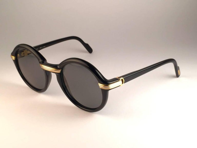 Cartier Cabriolet Round Black and Gold 52MM Gold Sunglasses, France 1990s For Sale 1