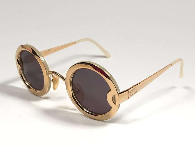 Brown Christian Dior Limited Edition 2918 40 Round Gold Sunglasses, 1980s    For Sale