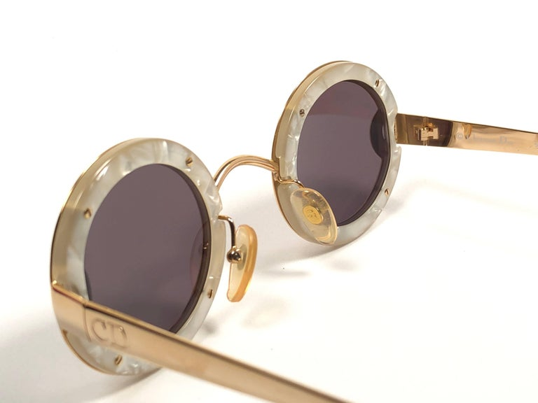 Women's or Men's Christian Dior Limited Edition 2918 40 Round Gold Sunglasses, 1980s    For Sale