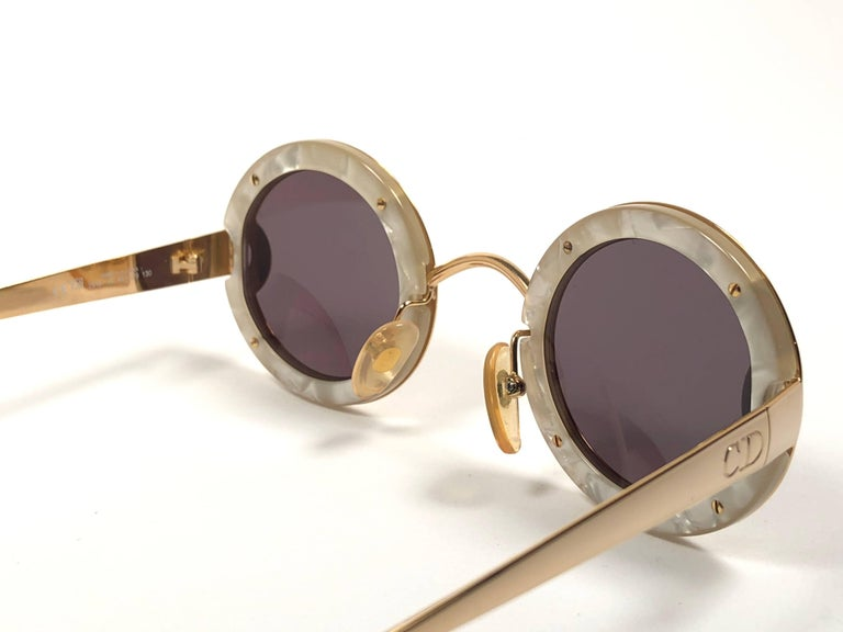 Christian Dior Limited Edition 2918 40 Round Gold Sunglasses, 1980s    For Sale 1