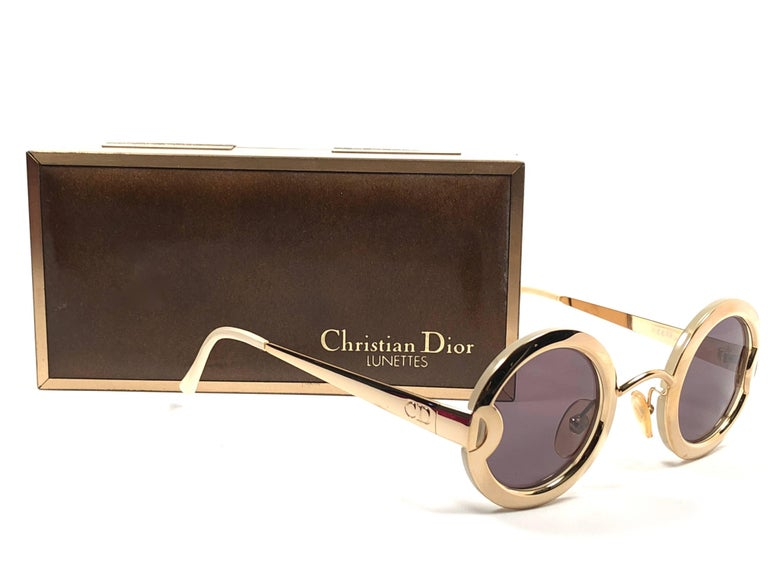 Christian Dior Limited Edition 2918 40 Round Gold Sunglasses, 1980s    For Sale 2