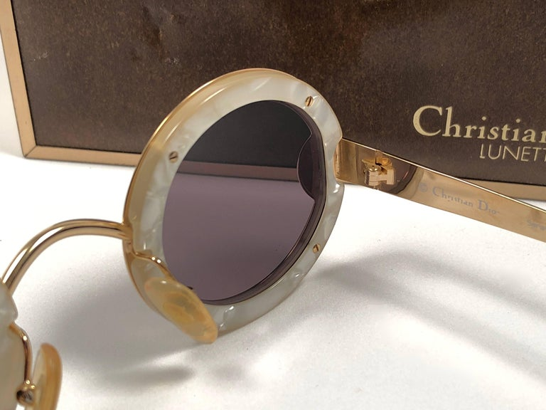 Christian Dior Limited Edition 2918 40 Round Gold Sunglasses, 1980s    For Sale 4