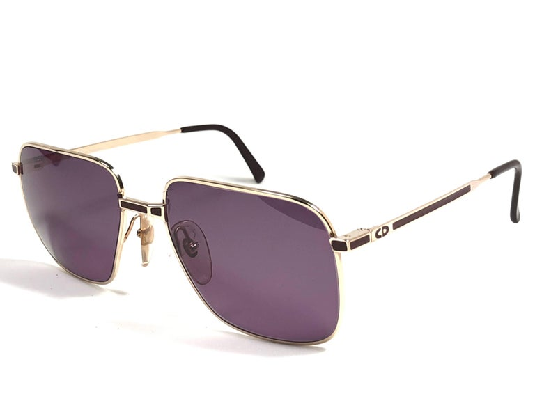 Beige New Vintage Christian Dior Monsieur Silver Sunglasses 1970's Austria For Sale