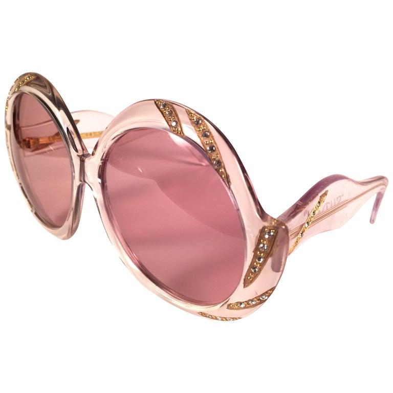 New Vintage Ultra Sudan Clear Rhinestones Rose Lens Oversized 1960's Sunglasses