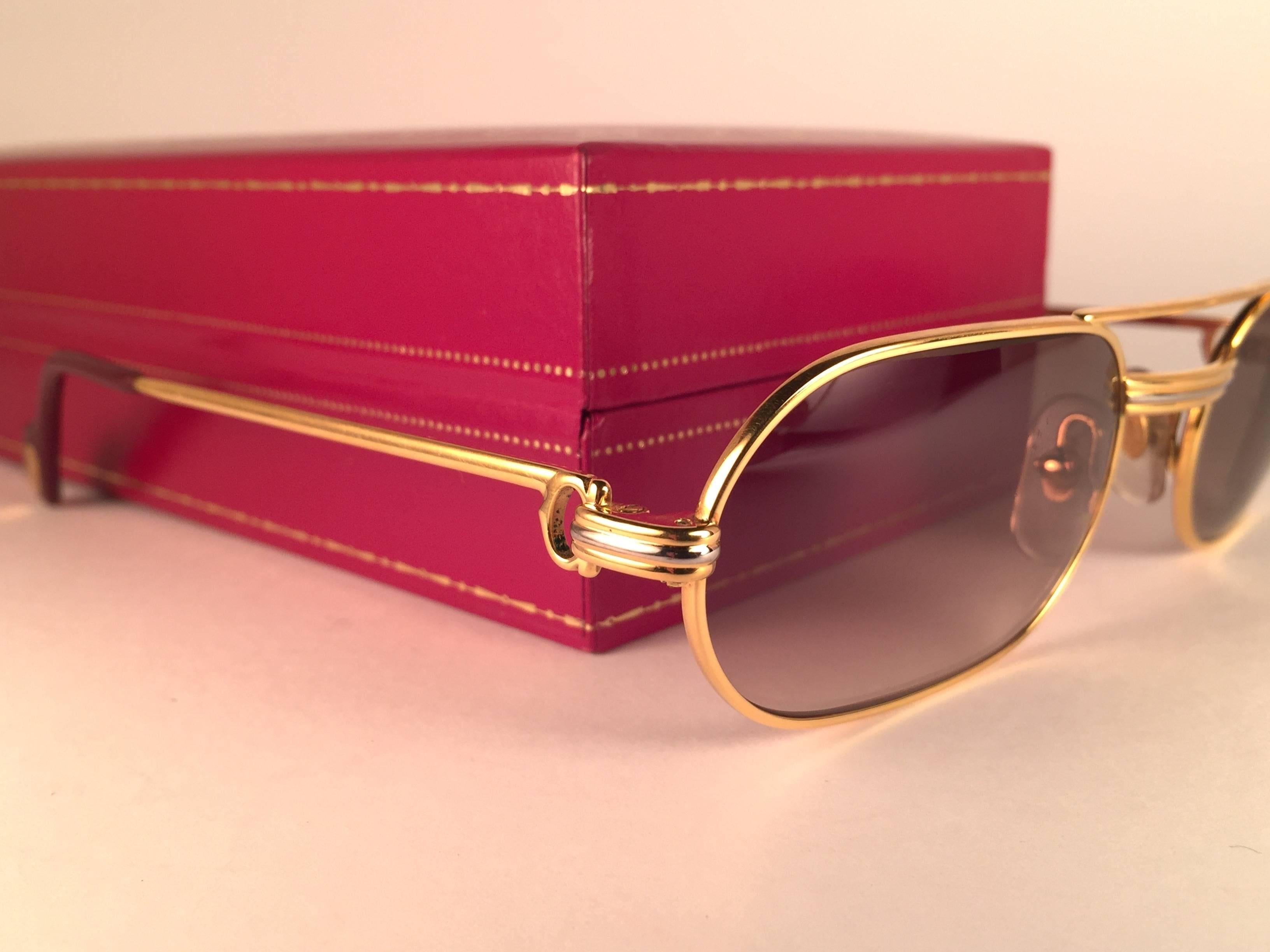 148da93df1f0 New Vintage Cartier Louis Vendome Medium 53mm France Sunglasses For Sale at  1stdibs
