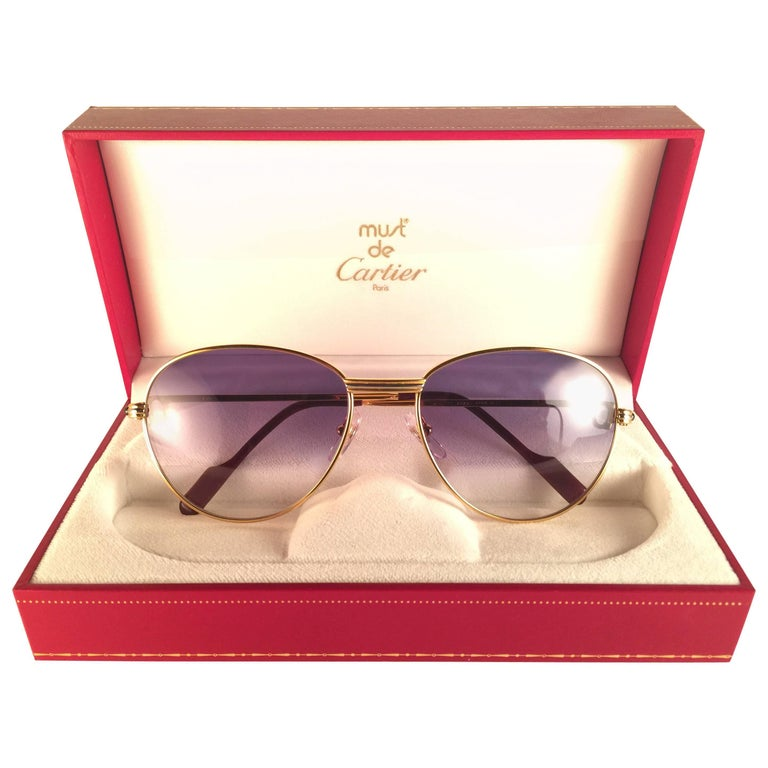 New Vintage Cartier Louis Sapphire 55mm Sunglasses Heavy Gold Plated 18k France