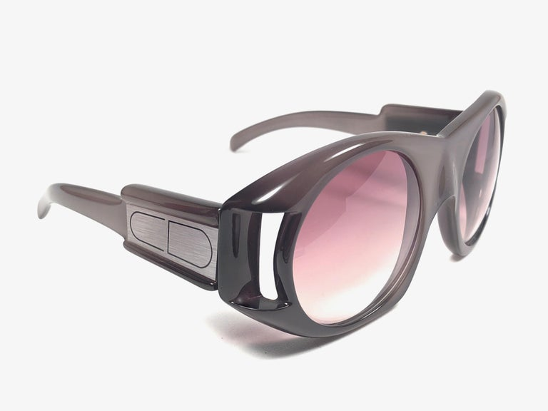 Gray Christian Dior Vintage Monsieur C61 Oversized Sunglasses, 1970  For Sale