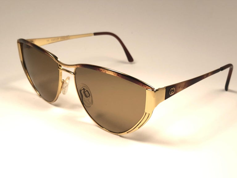 99785ec19a Brown New Vintage Gucci Tortortoise   Gold Sunglasses 1980 s Made in Italy  ...