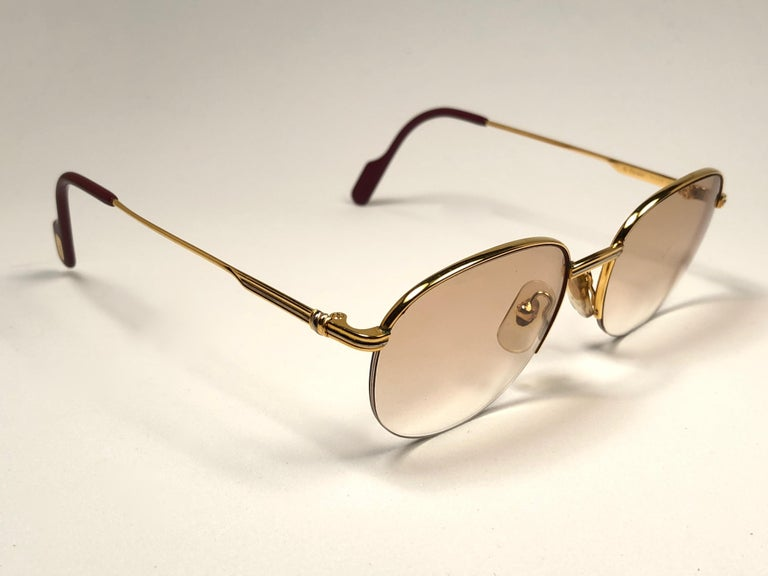 New Cartier Colisee Half Frame 49mm Sunglasses 18k Gold Sunglasses ...
