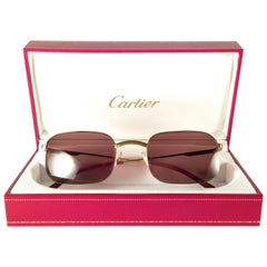 Cartier Vintage Broadway Gold Plated 49 22 Half Frame France Sunglasses, 1990