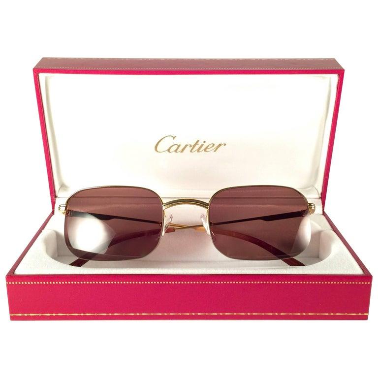Cartier Vintage Broadway Gold Plated 49 22 Half Frame France Sunglasses, 1990