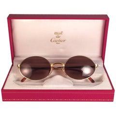 Cartier Vintage Sorbonne Gold Plated Solid Brown Lens France Sunglasses, 1990