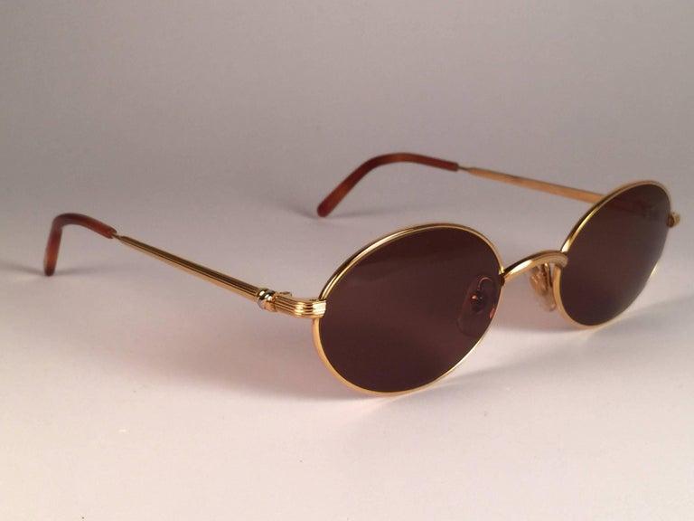 8d49ce754fb1 Cartier Vintage Sorbonne Gold Plated Solid Brown Lens France Sunglasses