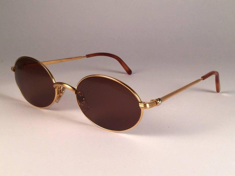 a06656dac061 Women s or Men s Cartier Vintage Sorbonne Gold Plated Solid Brown Lens  France Sunglasses