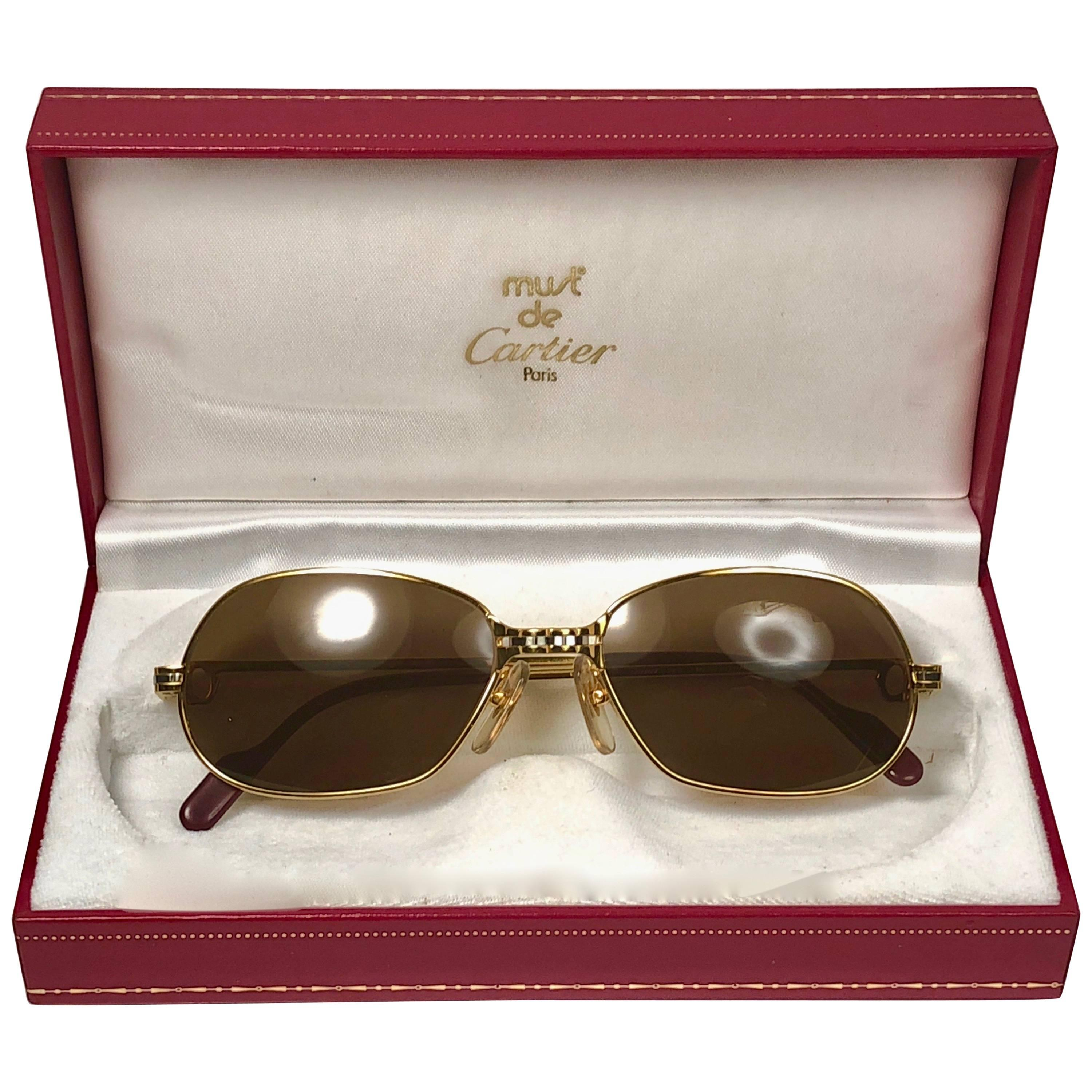 361689cc2274 Vintage Cartier Oval Gold Antares 49mm Frame 18k Plated Sunglasses France  For Sale at 1stdibs