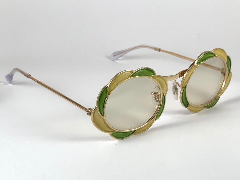 Beige Ultra Rare 1960 Christian Dior Enamelled Collector Item Sunglasses For Sale