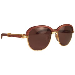 New Cartier Wood Malmaison Precious Wood Palisander and Gold 54mm Sunglasses