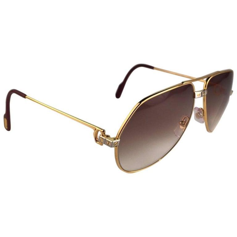 0b604d4b45 Vintage Cartier Santos Screws 56mm Heavy Plated Sunglasses France For Sale