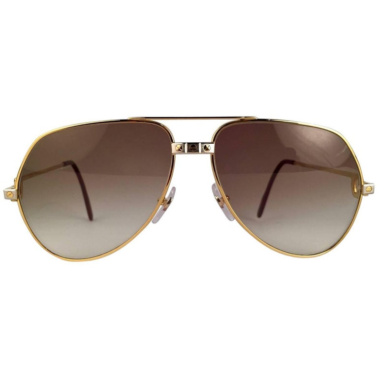 2dcf713488 Vintage Cartier Santos Screws 56mm Heavy Plated Sunglasses France For Sale.  Cartier Aviator Santos Sunglasses with Brown Gradient (uv protection)  Lenses.