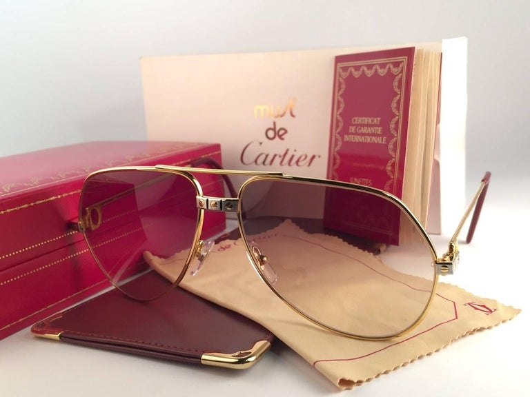 f0101ef325 Brown Vintage Cartier Santos Screws 56mm Heavy Plated Sunglasses France For  Sale