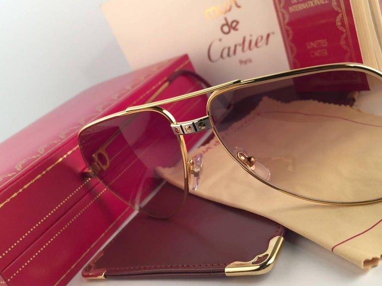 1e5424c6749 Vintage Cartier Santos Screws 56mm Heavy Plated Sunglasses France In New  Condition For Sale In Amsterdam