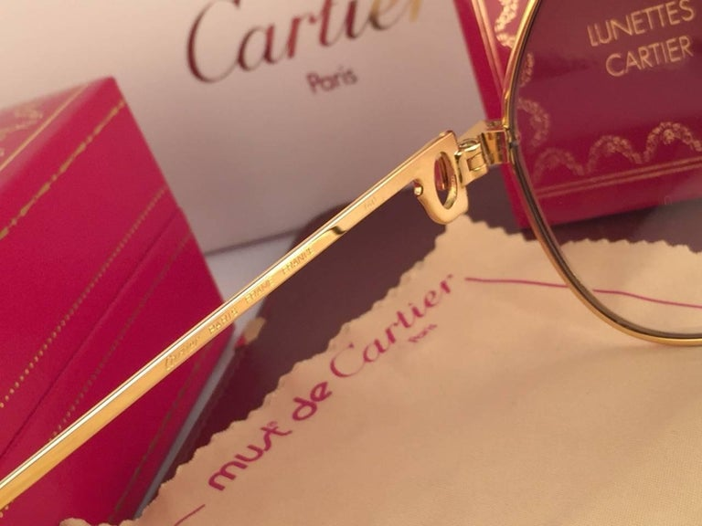 3e56369216 Women s or Men s Vintage Cartier Santos Screws 56mm Heavy Plated Sunglasses  France For Sale