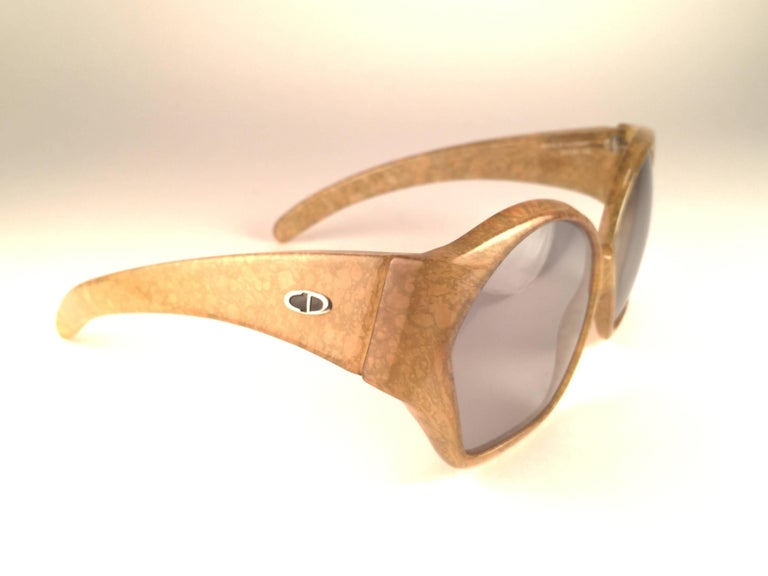 Brown New Vintage Christian Dior 2028 60 Jasped Marbled Green Optyl Sunglasses For Sale