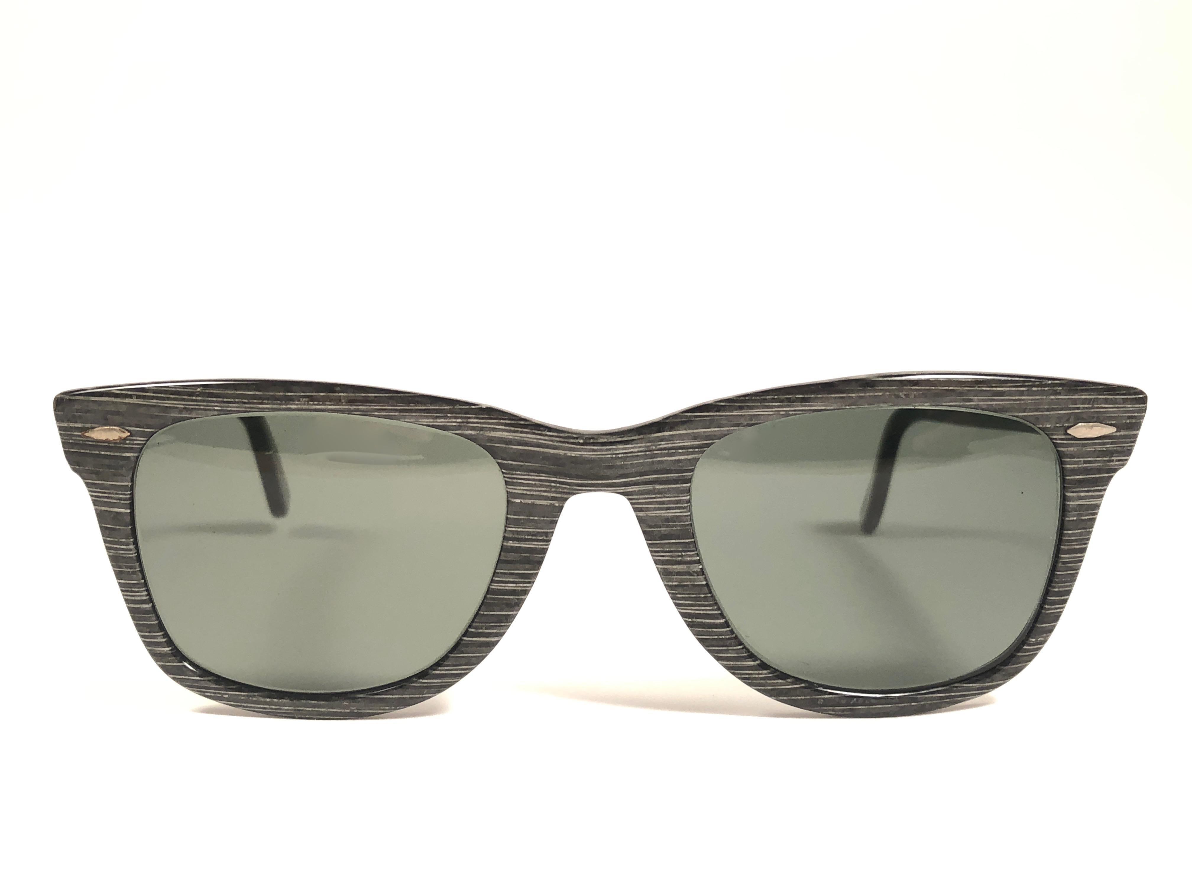 f2809f61c824d New Ray Ban Wayfarer 1960 s Mid Century Black Grey Lenses B L USA  Sunglasses For Sale at 1stdibs