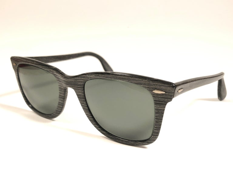 db63e6974c033 The first and super Rare 1960 s Stripped Wayfarer with thinner and  elongated temples . Bausch and. Gray New Ray Ban Wayfarer 1960 s Mid  Century Black Grey ...