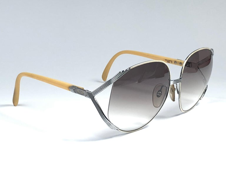 705db4ceac661 Gray New Vintage Christian Dior 2250 Oversized Silver White   Beige  Sunglasses For Sale