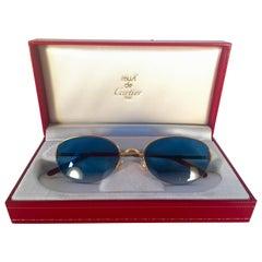 New Cartier Cabochon Half Frame 54mm Sunglasses 18k Gold Sunglasses France