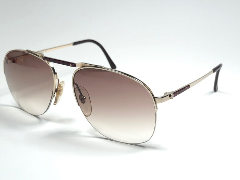 f2f09652a9 Gray New Vintage Dunhill 6022 Real Wood Trims Details Half Frame Sunglasses  France For Sale