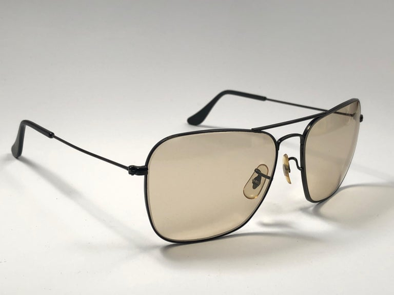 30d8c16f864 New Vintage Ray Ban Caravan Matte black with brown changeable lenses in  58MM size. B L