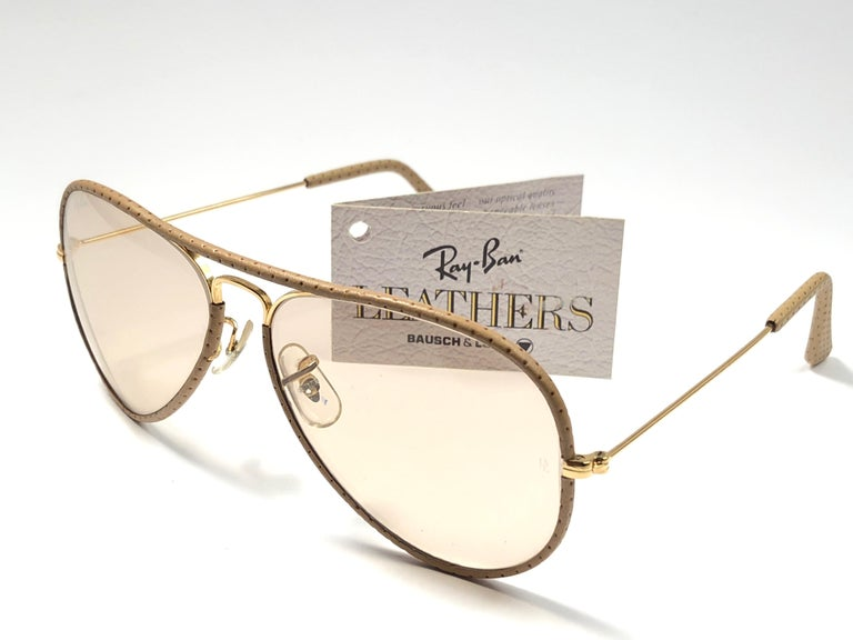 Black Vintage Ray Ban Vintage Tan Perforated Leathers Aviator 58MM B&L Sunglasses For Sale