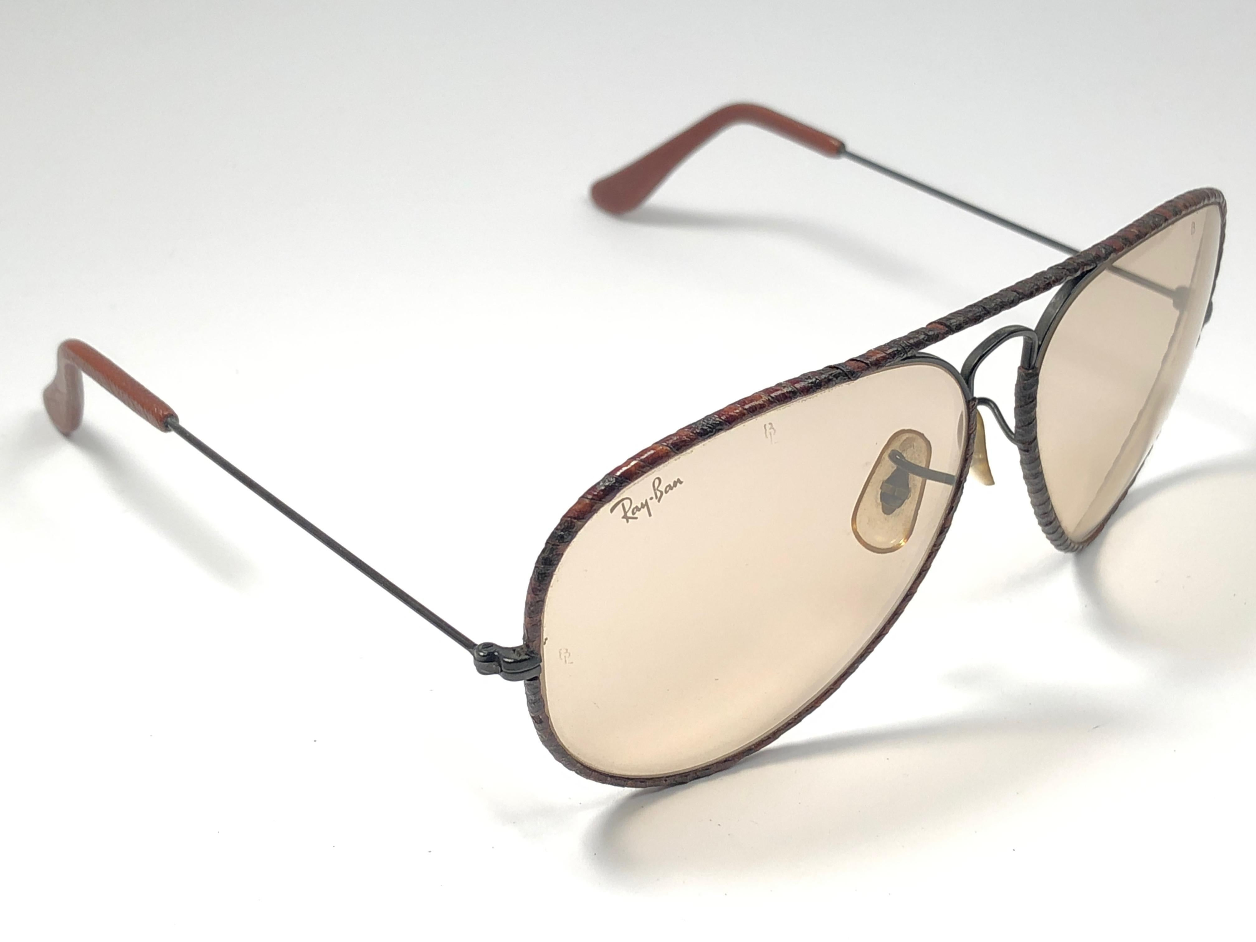 9c1d954a08 Vintage Ray Ban Burnt Tobacco Leathers Aviator 62MM B L Sunglasses For Sale  at 1stdibs