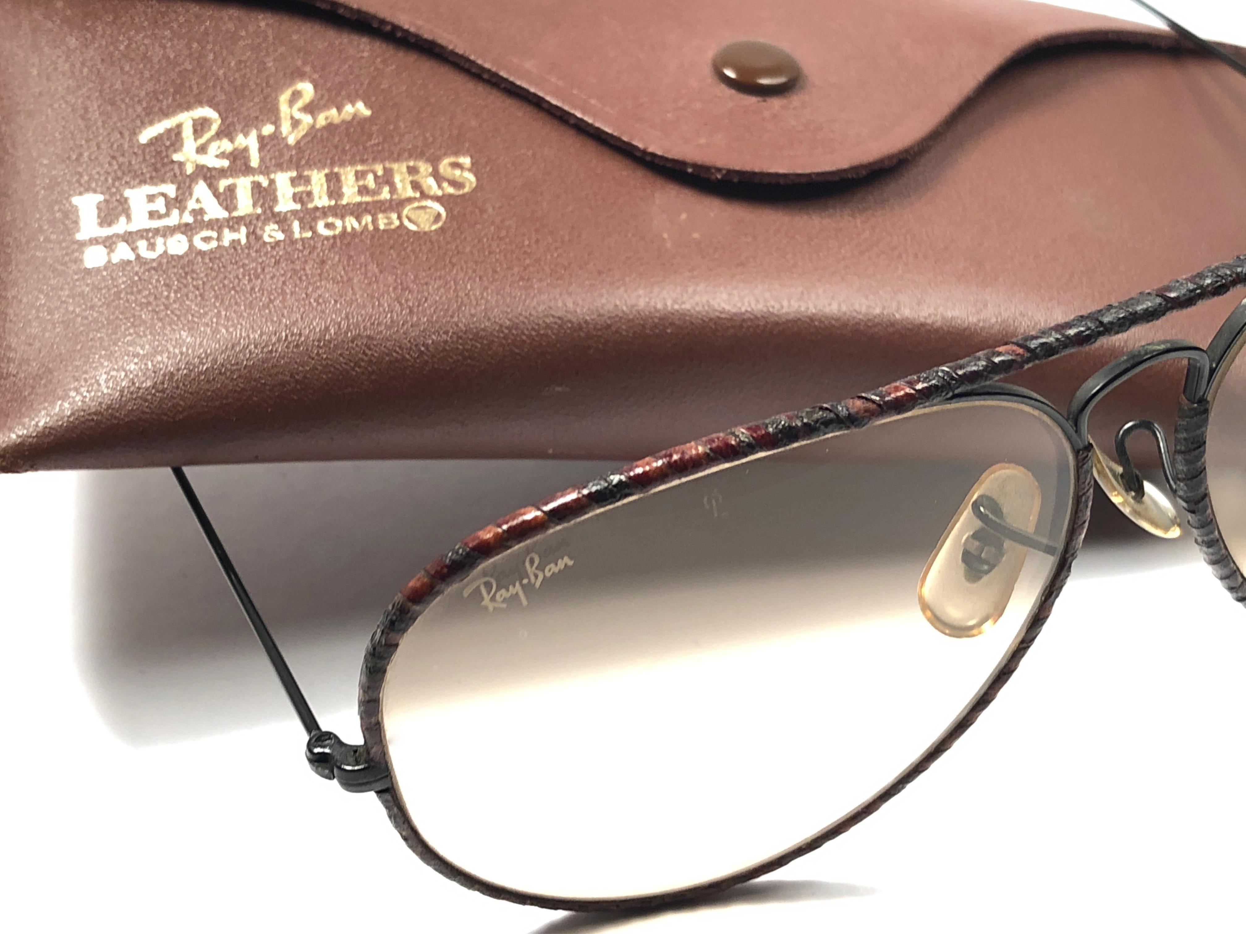 7d24bb68ff Vintage Ray Ban Burnt Tobacco Leathers Aviator 62MM B L Sunglasses For Sale  at 1stdibs