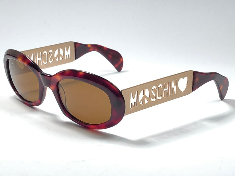 71277ed10b8 New Vintage Moschino By Persol MM644 Tortoise Gold Brown 1990 Sunglasses  1990 s In New Condition For