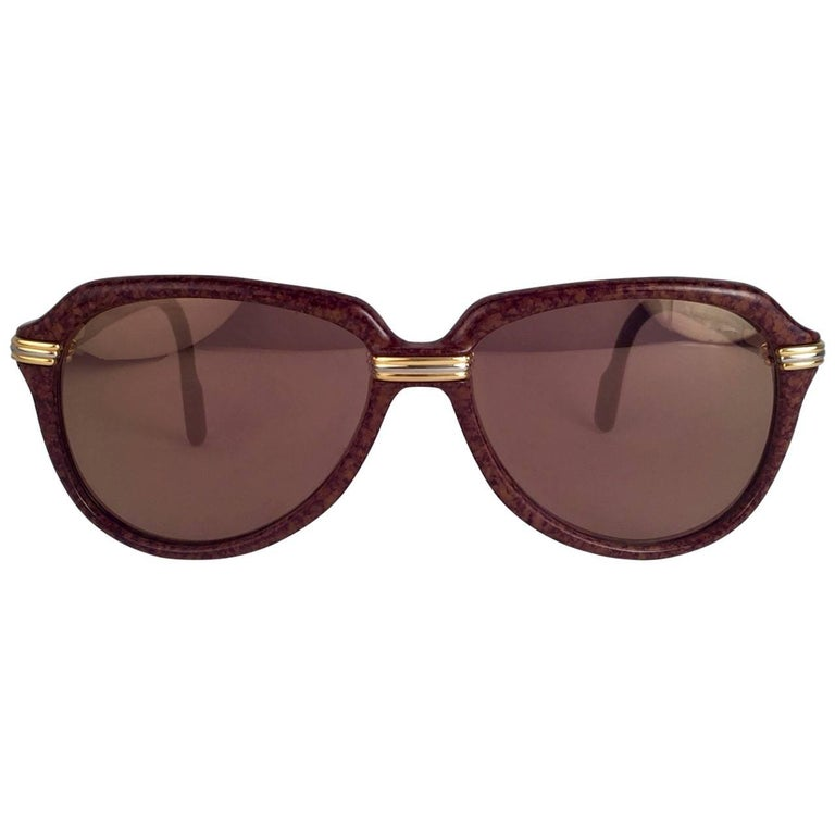 Vintage Cartier Vitesse Brown Jaspe 58MM 18K Gold Plated Sunglasses France  In New Condition For Sale In Amsterdam, Noord Holland